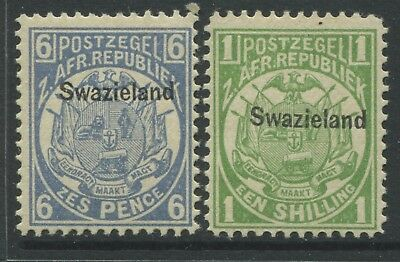 Swaziland 1889 overprinted on Transvaal 6d & 1/ unmounted mint NH
