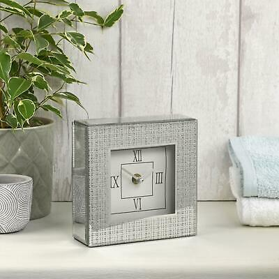 New Mirrored Glass Mantle Table Clock With Silver Shimmer Glitter Effect
