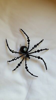 Black Glass Beaded Halloween Spider Ornament Decoration