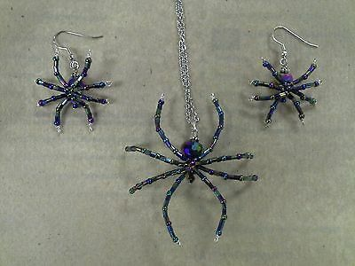 Glass Beaded Halloween Spider Costume Pendant Necklace and Earrings Set