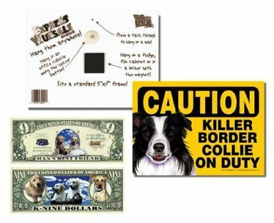 """Border Collie 2 Pack """"Caution Killer Border Collie on Duty"""" 5x7 Funny Dog Sign w"""