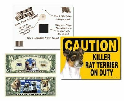 "Rat Terrier 2 Pack ""Caution Killer Rat Terrier on Duty"" 5x7 Funny Dog Sign with"