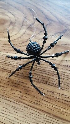 Halloween Spider Black Disco Ball Beaded Ornament  Decoration