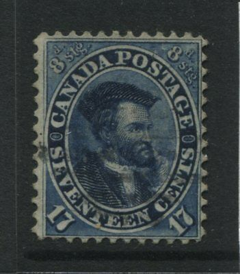 1859 Canada 17 cents  blue Cartier almost VF used