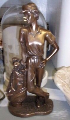 Decorative Figure Golfer golfspielerin Golfer Golf Bronze Coloured Sculpture