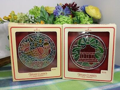 Hallmark Tiffany Classic Acrylic ornaments Partridge and Bell ornaments 1979