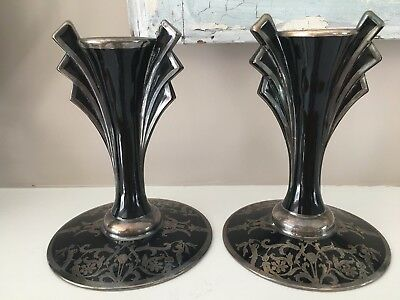 Vintage Black Glass Art Deco Candle Holder Pair Sticks Silver Overlay Halloween