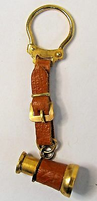 1950's TELESCOPE brass & leather NOVELTY keyring keychain from Canada