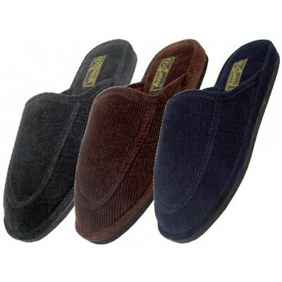 NEW Mens Slippers Open Back House Shoe Corduroy Slip On Scuff Comfort In/Outdoor