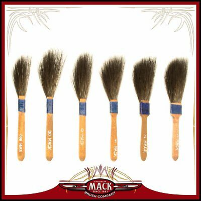 (6) Andrew Mack Brush Sword Striping Series 10 Sizes 000-3 Pinstriping Brushes