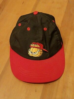 Vintage Garfield snapback dad hat 90s red and black