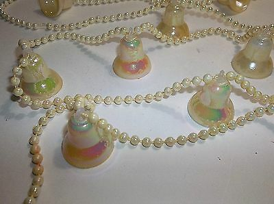 Vintage Plastic Christmas Tree Garland IRIDESCENT BELLS Pearl Beads 200""