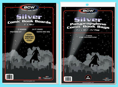 25 BCW SILVER COMIC BOOK BAGS & BACKING BOARDS Clear Plastic Archival Acid Free