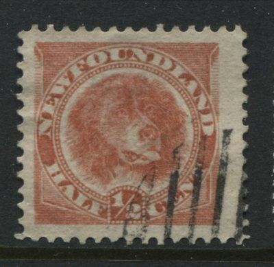 Newfoundland QV 1887 1/2 cent red Newfie Dog a used JUMBO copy