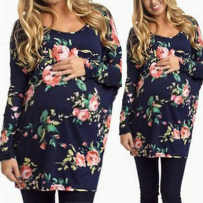 Pregnant Women Casual Maternity Fashion Loose Round Neck Long Sleeve Floral Tops