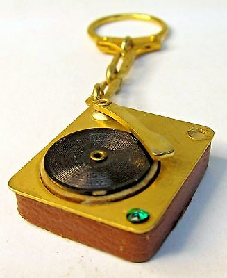 1950's PHONOGRAPH brass & leather NOVELTY keyring keychain from Canada