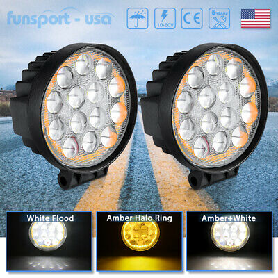 "2X 4"" Round Pods Spot LED Driving Fog Lamp Off Road Work Light For Jeep Wrangler"