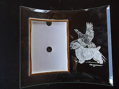Clumber Spaniel- Beautifully  hand engraved Freestanding Photo Frame  by Ingrid