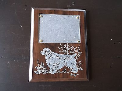Clumber Spaniel- Beautifully hand engraved Wall Photo Frame  by Ingrid Jonsson
