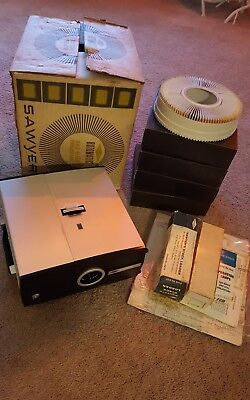 Sawyer Rotomatic 2x2 Slide Projector + 4 Disks, and Others