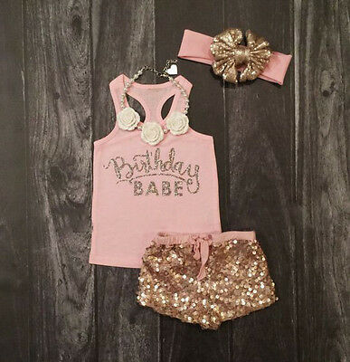 US Stock Toddler Baby Girls Birthday T-shirt Tops Sequin Pants Outfits Clothes