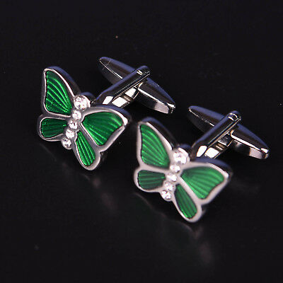 Green Butterfly Cuff Links Men's Fashion Jewelry Cufflinks Sexy Luxury Accessory