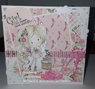 handmade birthday cards girl, love shoes, polkadoodles