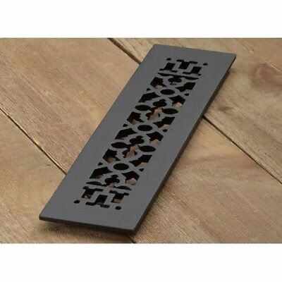 Reggio Registers - Cast iron scroll pattern grille 14 x 2 1/4 with holes #416-H