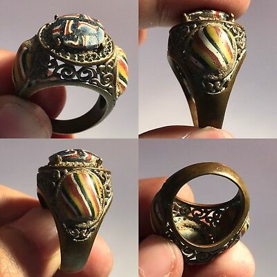 Very Old Phoenician Glass Wonderful Bronze Ring