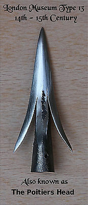 """Olivemead Forge Medieval Arrow Heads- Type 13 variant """"POITIERS HEAD"""""""
