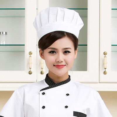 Adult Elastic White Chef Hat Baker BBQ Kitchen Cooking Hat Costume Cap US