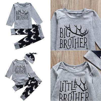 US Stock Newborn Baby Little Brother Romper Big T-shirt Top Matching Outfits