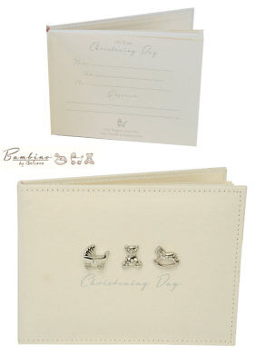 NEW Bambino by Juliana Linen Christening Guest Book 3 Baby Icons Keepsake Gift