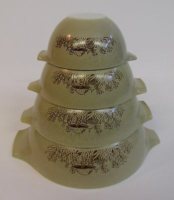 * Vintage Pyrex Nesting Mixing Bowls * Forest Fancies Mushrooms * Set Of Four *