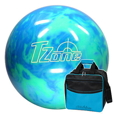 Set: Bowling Ball and Bag, Brunswick Ick TZone Caribbean Blue & KR Colors Blue