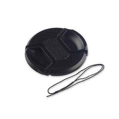 52mm Center Pinch Front Lens Cap Cover Black For Canon Nikon Sony w String New