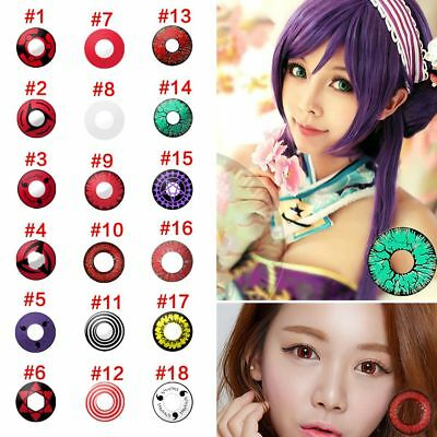 18 Styles Coloured Contact Lenses Halloween Crazy Cosmetic Makeup Cosplay Lens