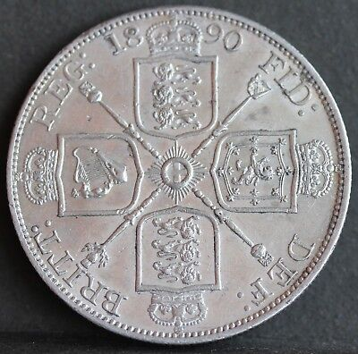 Victoria Sterling Silver Double Florin (Four Shillings). 1890. EF