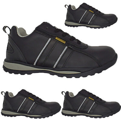 Mens Black Leather  Lightweight Composite Toe Safety Shoes Trainers Boots Work