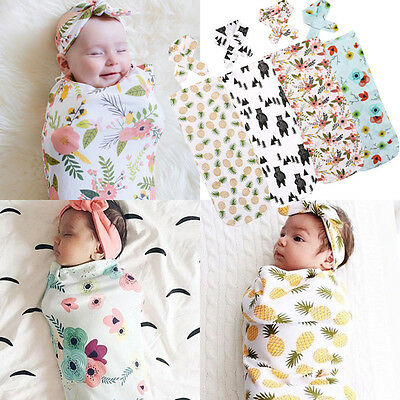 Newborn Infant Babys Swaddle Blanket Soft Sleeping Swaddle Muslin Wrap Headband