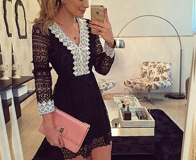 Fashion Women Summer Casual Long Sleeve Evening Party Cocktail Short Mini Dress