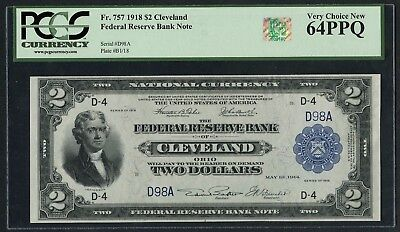 Fr757 $2 1918 Frbn Cleveland Pcgs 64 Ppq Very Choice New 2 Dg S/n D98A Wlm4363