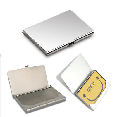 Stainless Business Card Holder Credit Coins Shut Pocket Wallet ID Storage Case