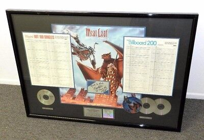 Riaa Meatloaf Autographed Bat Out Of Hell Platinum Sales Award 12 Million Copies
