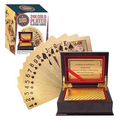Benross Global Gizmos 51320 Certificated Real Gold Plated Playing Cards in Box
