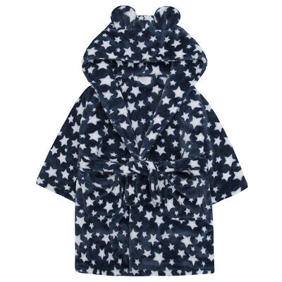 Infant Girls Boys Unisex Star Print Flannel Fleece Hooded Dressing Gown Robe
