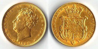 SHIELDBACK George IV 1826 SOVEREIGN Gold Coin  => PRICE REDUCED !!!