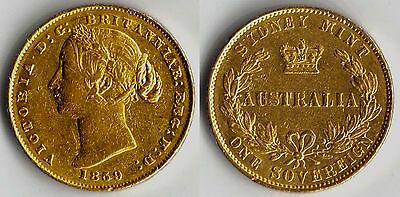 ULTRA  RARE DATE 1859S Victoria Sydney Mint Gold coin Sovereign