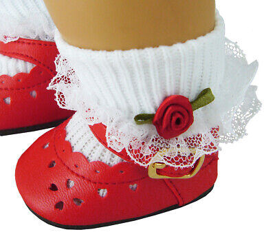 For Bitty Baby American Girl Doll PATRIOTIC Red Shoes & Rosebud Socks
