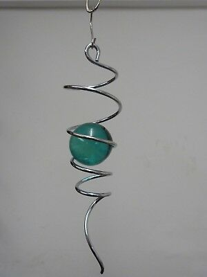 SPIRAL TWISTER Silver/Aqua for wind spinner Garden Accessory, Stainless Steel